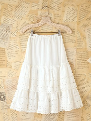 Vintage White Cotton Eyelet Skirt