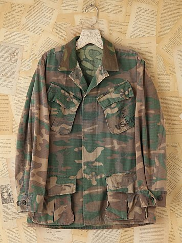 Free People Vintage Military Camouflage Jacket