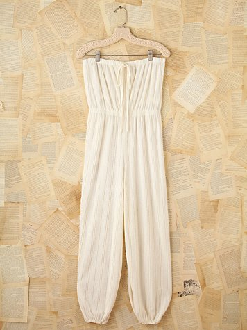 Free People Vintage White Gold Terry Cloth Romper