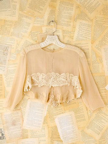 Vintage Lace Trimmed Silk Crop Top