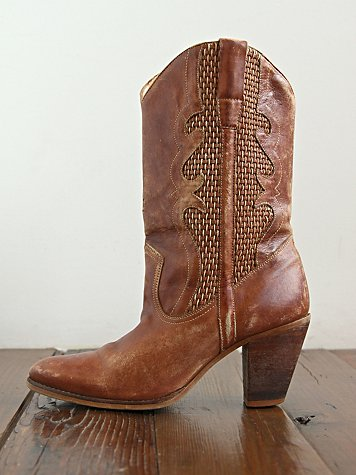 Free People Vintage Brown Woven Leather Boots