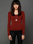 Long Sleeve Diamond Textured Top