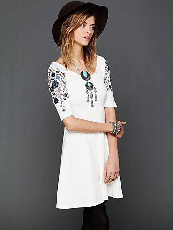 Free People Garden Sleeve Embroidered Dress