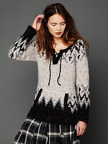 Free People Fairisle Lace Up Pullover
