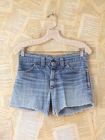 Free People Vintage Patchwork Denim Shorts