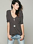 Retro Stripe Three Quarter Sleeve Top