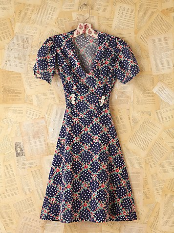 Free People Vintage Blue Floral Dress