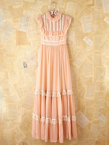 Free People Vintage Pink Bibbed Maxi Dress