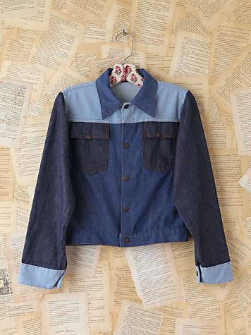 Free People Vintage Triple-Tone Denim Jacket