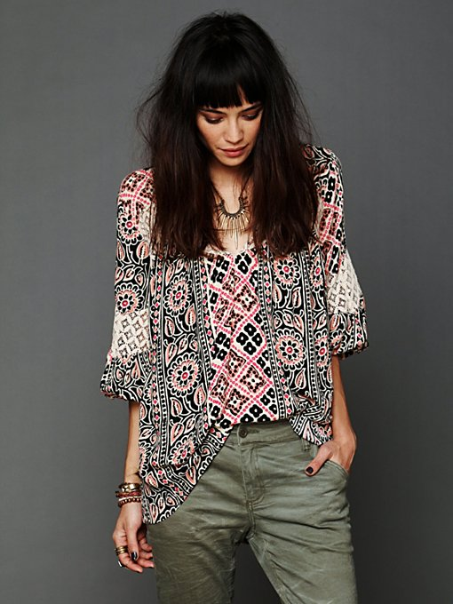 Free People Printed Bubble Sleeve Tunic in tops