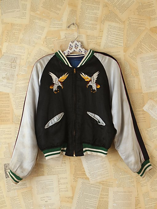 Free People Vintage 1950s Reversible Embroidered Satin Jacket in vintage-jackets