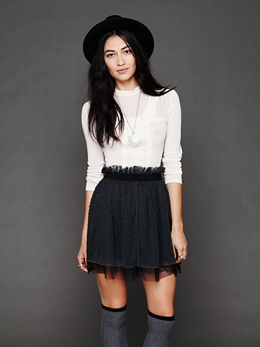 Polka Dot Mesh Skirt