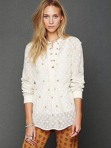 Free People FP New Romantics Dotted Lines Pullover
