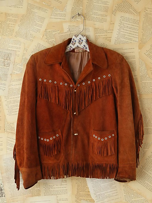 Free People Vintage Brown Suede Fringe Jacket in vintage-jackets