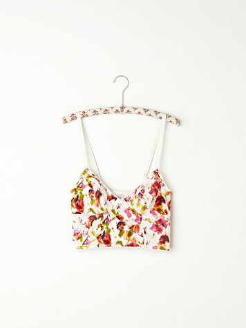 Printed Crushed Velvet Crop Bra