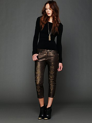 Free People Embroidered Vegan Leather Pant