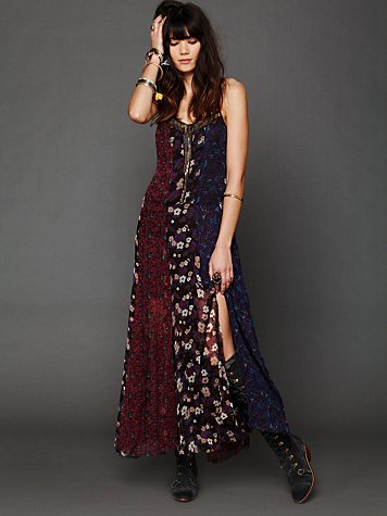 Free People Midnight Stars Pieced Print Dress