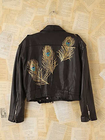 Free People Vintage Wild Unknown Hand-Painted Leather Jacket