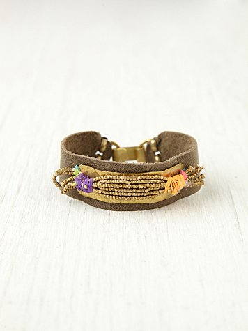 De Petra Gold Spun Leather Bracelet