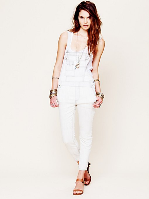 Free People Washed Denim Overall in Colored-Jeans