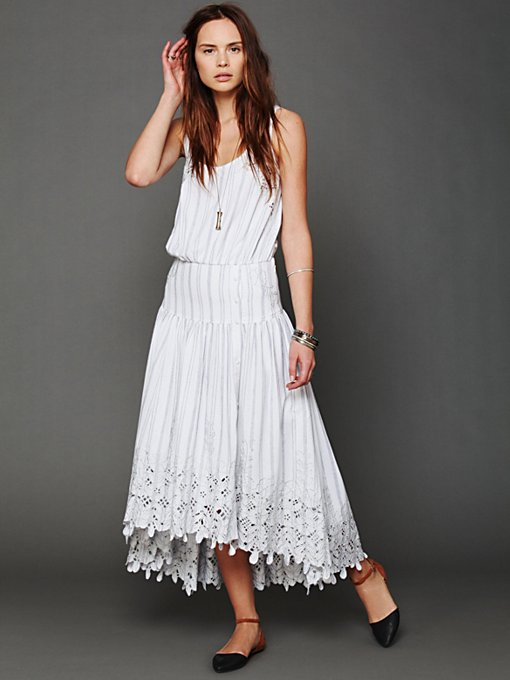 Free People FP New Romantics Pantry Stripe Dress in white-maxi-dresses