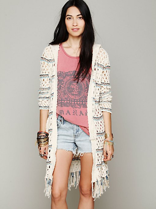 Free People Hooded Stripe Fringe Cardi in cardigan-sweaters
