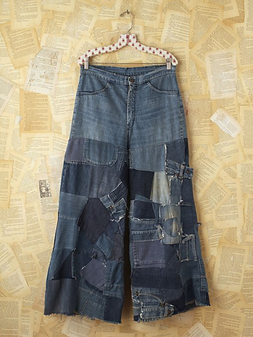 Free People Vintage Patchwork Denim Flares in vintage-skirts