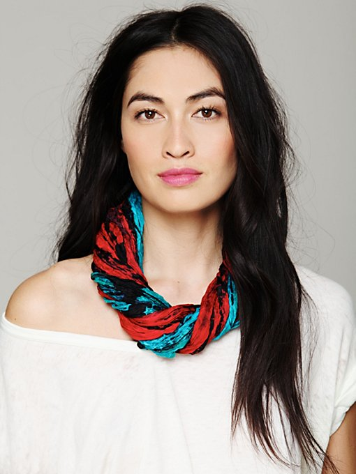 Crinkled Silk Loop Scarf in sale-sale-accessories