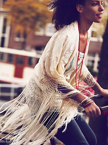 Free People Headed West Embroidered Poncho