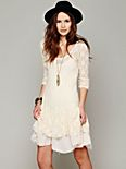 Long-Sleeve Lace Dropwaist Dress