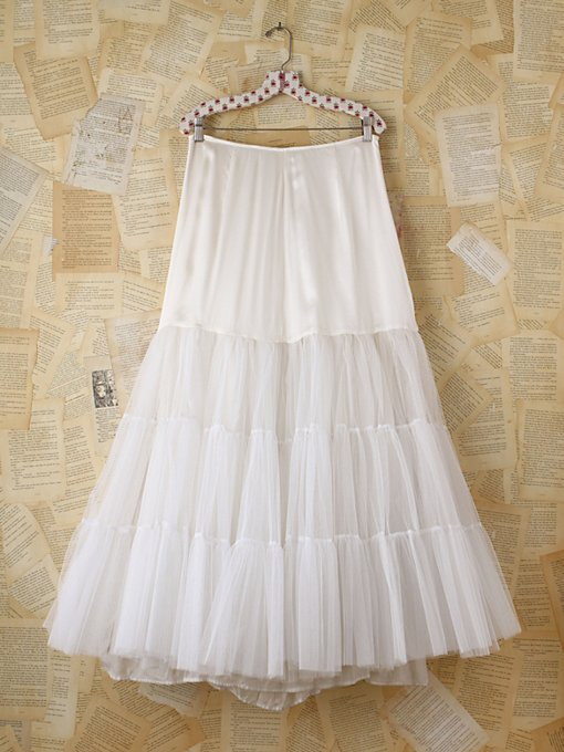 Free People Vintage White Tulle Maxi Skirt in vintage-skirts