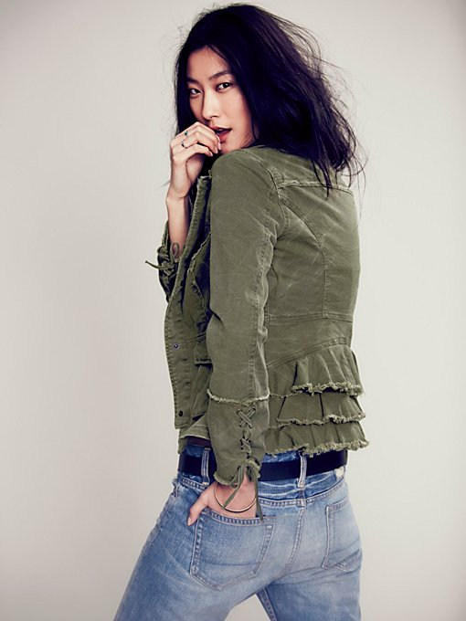 Ruffle Back Twill Jacket in structured