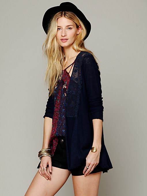 Free People Crochet Inset Cardigan in Sweaters