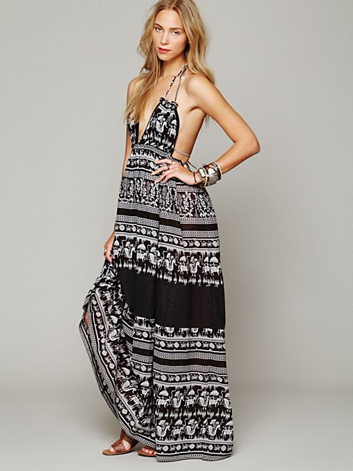 Free People Printed Triangle Top Maxi Dress in black-maxi-dresses