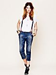 Suspender Cropped Jeans