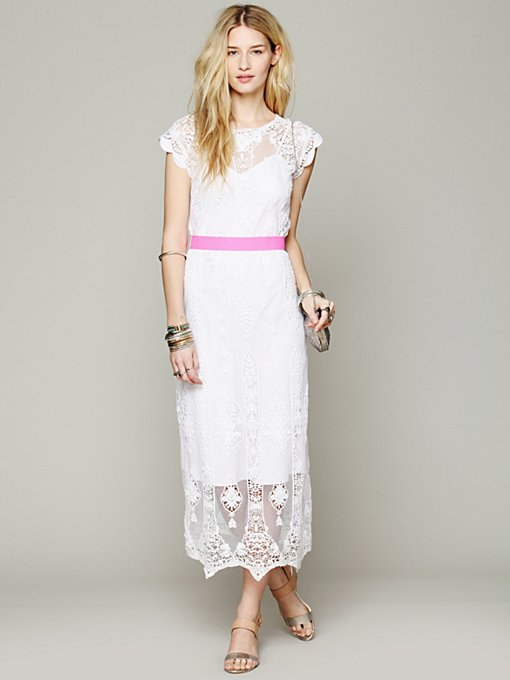 Miguelina Lilly Vintage Embroidered Dress in white-maxi-dresses