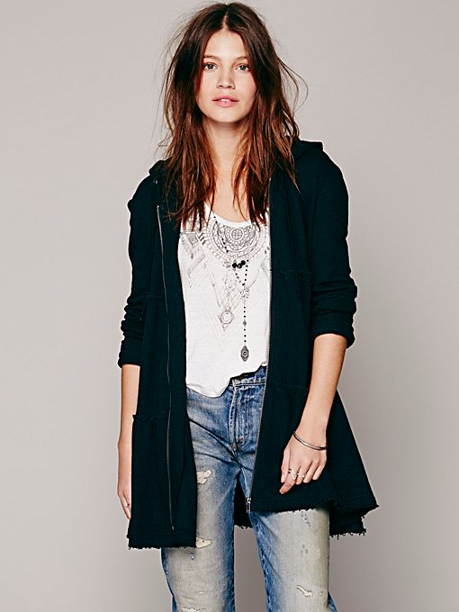 Free People Tiered Trapeze Zip Sweatshirt in Coats