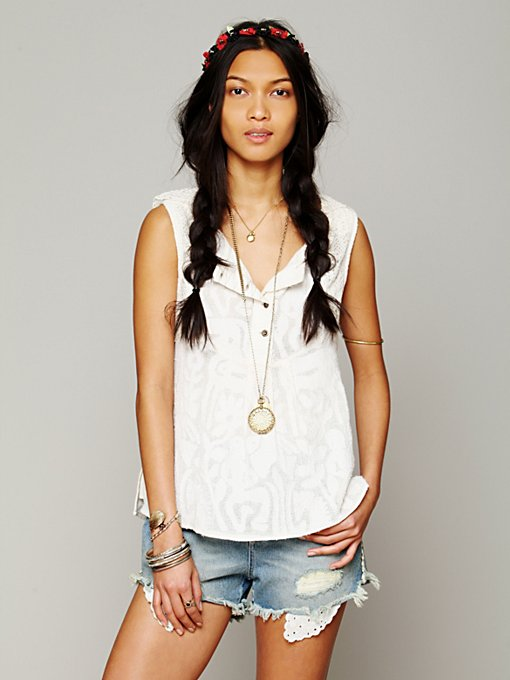 Free People FP New Romantic Sleeveless Texture Tank in Party-Tops