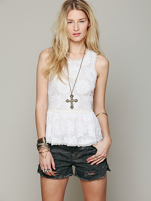Free People FP New Romantics Beaded Peplum Tank in Party-Tops