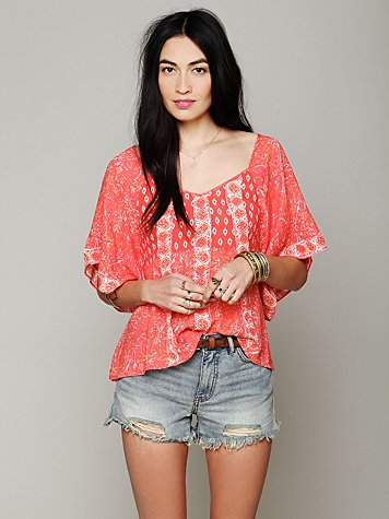 Free People Mixed Print Top