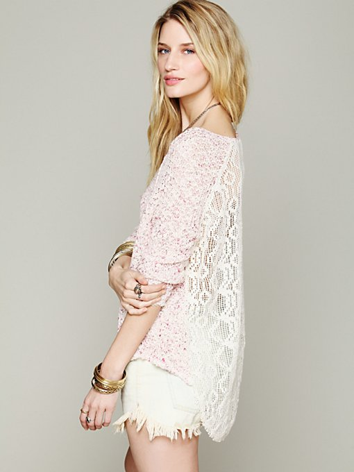 Lace Back Oversized Pullover in clothes-sweaters