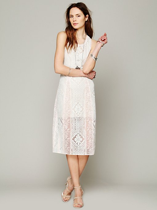 Free People Miracle Lace Midi Dress in Bodycon-Dresses