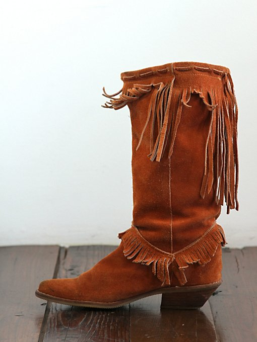 Free People Vintage Suede Fringe Western Boot in vintage-shoes