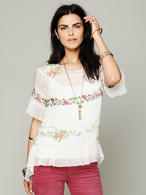4 Love And Liberty Love and Liberty Embroidered Tunic in sheer-blouses