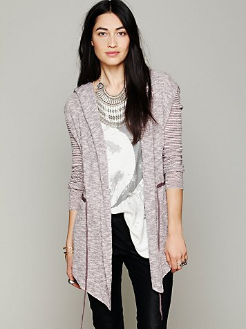 Free People Long Mini Stripe Cardigan