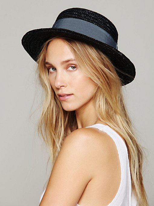 Straw Boater Hat in accessories-hats-fedoras-caps