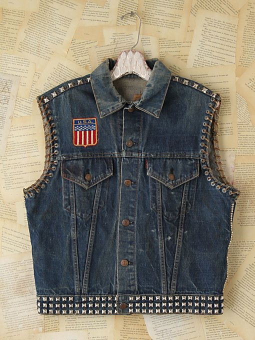 Free People Vintage Embellished Denim Vest in vintage-jeans