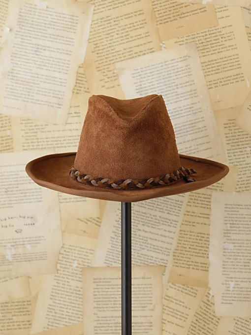 Free People Vintage Rugged Suede Fedora in Vintage-Accessories