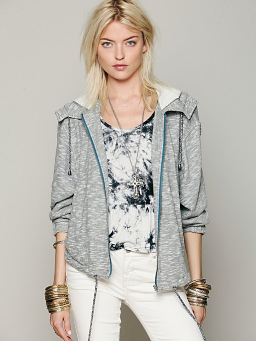 Free People Knit Hooded Drippy Jacket in Jackets