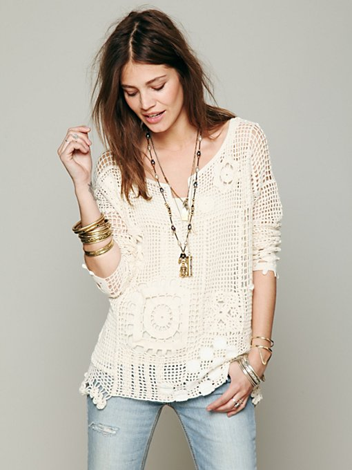 Free People Patched Crochet Pullover in Sweaters